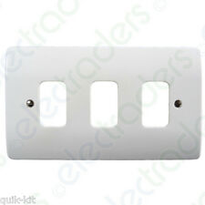 6x MOULDED White Frontplate 3 Gang MK Grid Plus K3633 Whi
