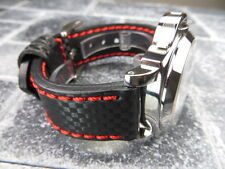 New CARBON Fiber 22mm LEATHER STRAP Band Black with Red Stitch PAM 22