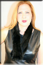 New Black Mink Fur Scarf with Rosette Efurs4less