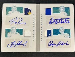 2016 Playbook Front 4 Jersey Patch Signatures 1/1 Plate Romo Aikman Staubach