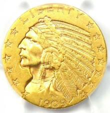 1909-D Indian Gold Half Eagle $5 Coin - Certified PCGS AU55 - Rare Coin!