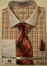 Mens Red Plaid Dress Shirt with White French Cuff + Collar Daniel Ellissa DS3765