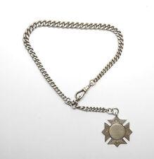 """Antique Victorian Albert chaîne et Fob médaille b'ham 1889 Argent 925 49.7 G 11.5"""""""