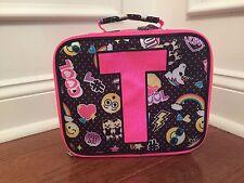 Justice Emoji Black Pink Polka Dot Initial T Lunch Box Tote New!