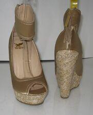 "Beige 6""Wedge HEEL 1.5"" Platforms ankle strap high heel sandals shoes SIZE 6.5 p"
