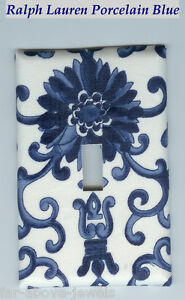 Light Switch Plate & Outlet Covers SCROLLS ~ PORCELAIN BLUE COLOR