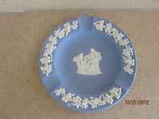 "Wedgwood Blue Jasperware, 4 1/2"" Ash Tray, Base Relief Roman Figures, Mint"