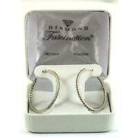 14K White Gold Diamond Hoop Earrings with Jewelry Gift Box