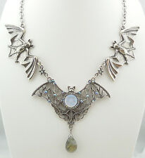 KIRKS FOLLY BEWITCHING BATS SEAVIEW MOON & LABRADORITE DROP NECKLACE AB MOON