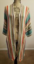 Ralph Lauren Women Indian Navajo Linen Stripe Sweater Cardigan Sz PXL THESPOT917