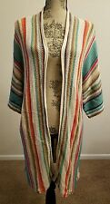 Ralph Lauren Women Indian Blanket Navajo Linen Striped Sweater Cardigan Coat PS