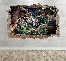 Dinosaur Jurassic World 3d Kids Wall Art Sticker Breakout Smashed Boys Girls Extra Large Landscape 100cm (w) X 70cm (h)