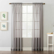 """Home Expressions Jacqueline Rod-Pocket Sheer Panel Pair Gray 118"""" x 84"""""""