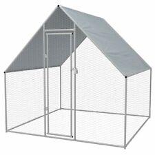 vidaXL Outdoor Chicken Cage Galvanized Steel Houses Hen Runs Coops Multi Sizes