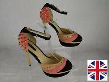 Ladies ALDO Pink & Black Studded Stiletto Heel Platform Shoes UK 6 Punk Party