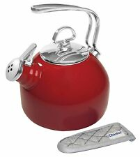 Chantal 1.8 Qt Enamel on Steel Classic Stovetop Tea Kettle Chili Red Teakettle