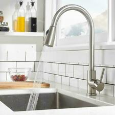 Brushed Nickel Sink Faucet Pull Out Sprayer Single Hole Swivel Mixer Tap