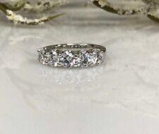 3.00Ct 5 Stone Diamond Wedding Engagement Band Ring in 14k White Gold Finish