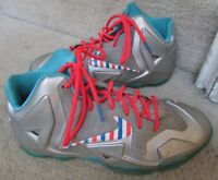 Nike Lebron XI 11 Silver Barber Shop Candy Cane Size 7Y 621712-009