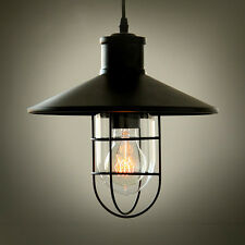 Vintage Glass Lampshade Pendant Light Industrial Black Metal Cage Ceiling Light
