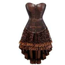 Brown Leather Corset Dress Overbust Corsets and Bustiers Zipper Front Corselete