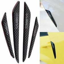 4pcs Black Carbon Fiber Car Side Door Edge Scratch Protector Guard Stickers
