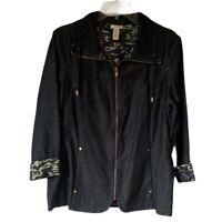 Chicos Womens Jacket Black Camouflage Cuff Ruched Waist Zip Up Pockets Medium