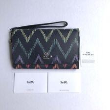 Coach * Women's Phone Wallet Wristlet F67551 SVF23 Geo Chevron Print COD PayPal