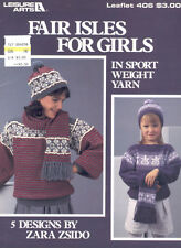 Fair Isles For Girls Sweater Hat Scarf Knitting Pattern Leisure Arts 406 Leaflet