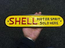 Large Shell Motor Spirit Sold Here painted Cast metal sign  Garage Sign