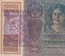 AUSTRIA CROATIA FIUME BANKNOTE 50 KRONEN 1914 CITTA DI FIUME Consiglio Nazionale