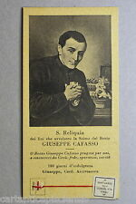 SANTINO con RELIQUIA Santo Giuseppe Cafasso Holy Card with Relic 1929