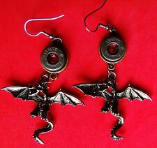 BULLET EARRINGS 45 AUTO TULAMMO W/LT RED SWAROVSKI CRYSTAL AND SMAUG DRAGON  NEW