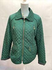 LAURA ASHLEY Ladies Green Diamond Quilted Zip Up Coat Jacket - Size UK8