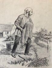 Pêcheur au filet en rivière encre signée Noseda 1892