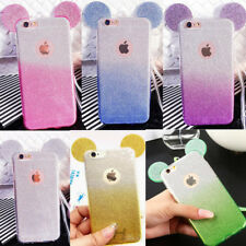 Minnie Mickey Mouse Ear Glitter Gradient TPU Case Cover for iPhone 5 6s 7 8 Plus