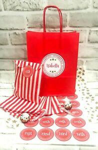 Personalised Advent Calendar Bag 24 Striped Bags 24 Sticker ChristmasAdvent 2021