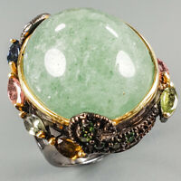 Handmade Jewelry Natural Aventurine 925 Sterling Silver Ring Size 8.25/R113917