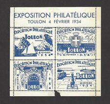France Cinderellas : 1934 Philatelic Exposition Toulon S/S MH