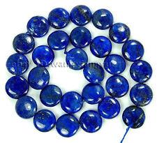 "12MM Natural Egyptian Lapis Lazuli Coin Shape Gemstones Loose Beads 15"" AAA"