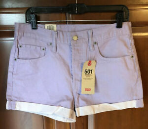 Women's Levis Shorts 501 Mid Rise Purple denim size 30 Button Fly Non Stretch