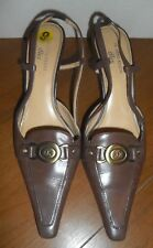 AK Anne Klein Brown Womens Shoes Slingbacks Buckle US Size 9M IFlex Leather