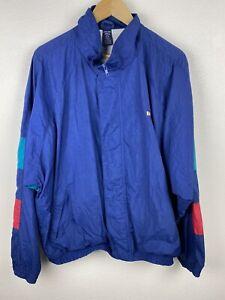 Vintage Lands End Mens Bomber Jacket Size XL Full Zip Lined 90s Blue Nylon