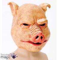 Adult Mens Horror Pig Latex Mask Scary Evil Animal Halloween Fancy Dress Costume