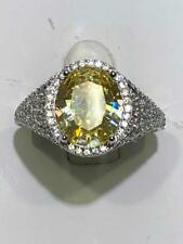 Platinum Sterling Silver Yellow & White Sapphire Oval Halo Engagement Ring Sz7