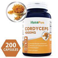 NusaPure Cordyceps Extract 1000 mg 200 Capsules (NON-GMO & Gluten Free)