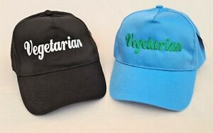 Vegetarian Embroidered base ball cap hat, In Various Colours