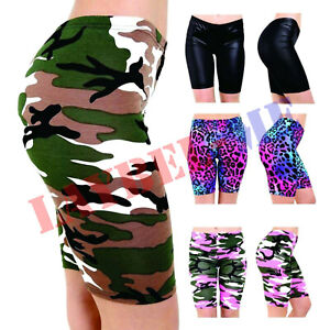 Women Ladies Printed Stretchy Gym Bike Cycling Tights Hot Pants Shorts Plus Size