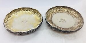 Tiffany & Co. Aesthetic Sterling Silver Pair Floral Repousse Footed Dishes