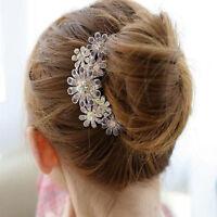 Hot Women Crystal Rhinestone Petal Tuck Comb Flower Hair Pin Hair Clip Hairpin v